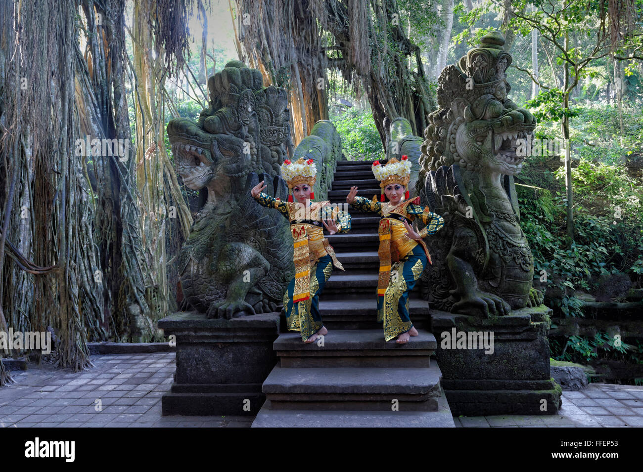 Two Balinese dancers, Monkey Forest, Ubud, Bali, Indonesia - Stock Image