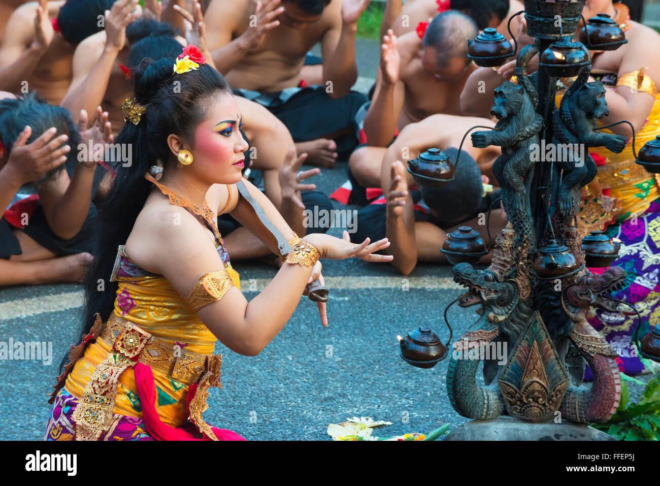 Performance of the Balinese Kecak dance, Ubud, Bali, Indonesia - Stock Image