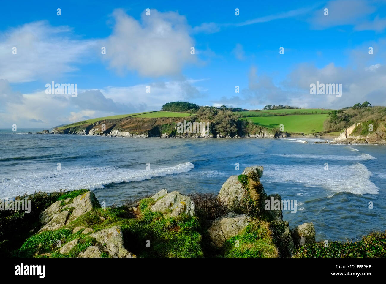 Mouth of the River Erme on a winters day. Towards Mothecombe from Beacon Point, Wonwell, South Hams. Devon. UK - Stock Image