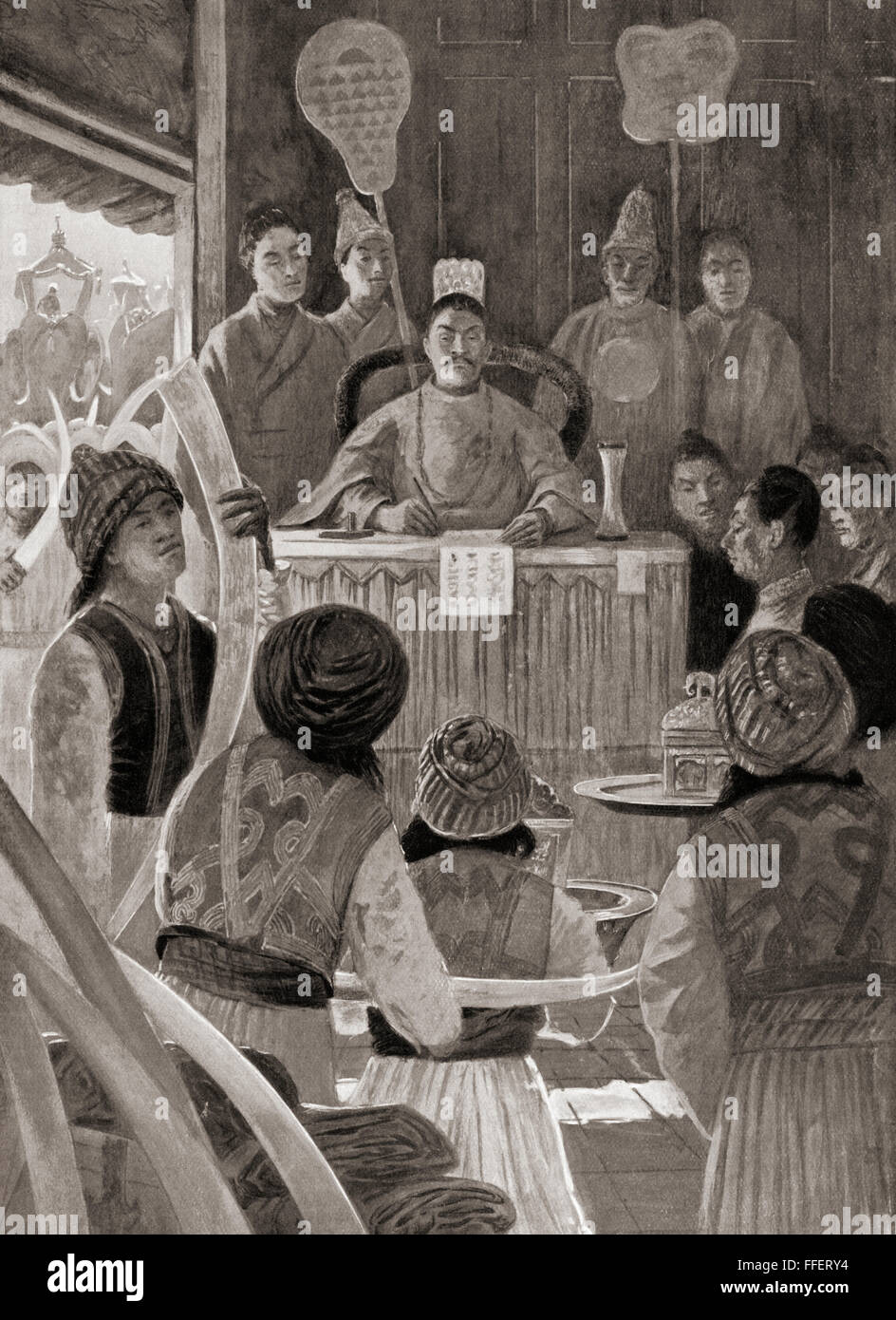Siamese envoys paying tribute to the Emperor of China during the Ming dynasty, presenting gifts of pepper, satin, - Stock Image
