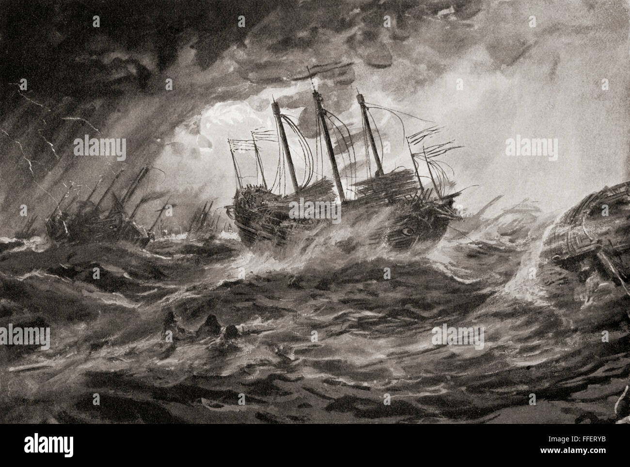 The wreck of Kublai Khan's Mongol fleet during the second invasion of Japan in 1281 due to the typhoon, Kamikaze, - Stock Image