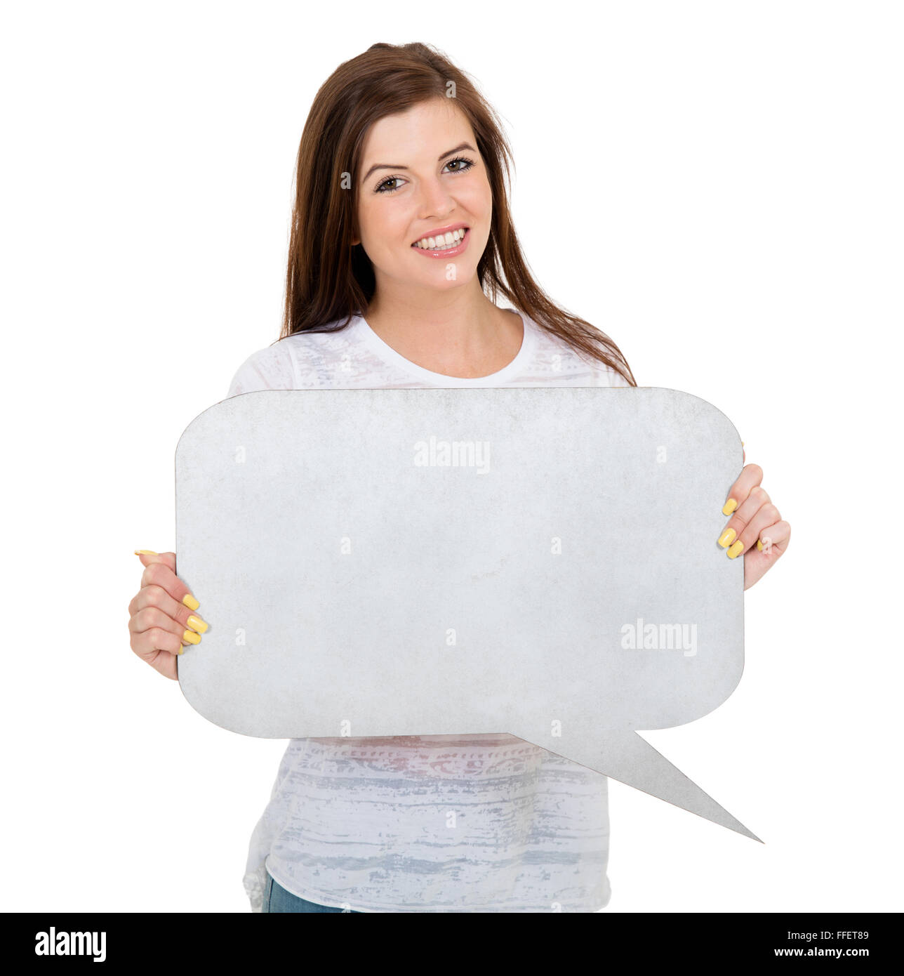 happy teen girl with blank text bubble - Stock Image