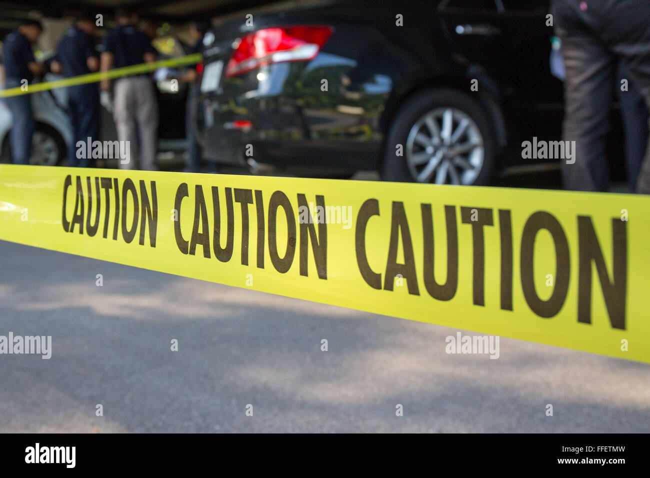 Caution Tape Protect Area Of Crime Scene Investigation With Forensic Stock Photo Alamy