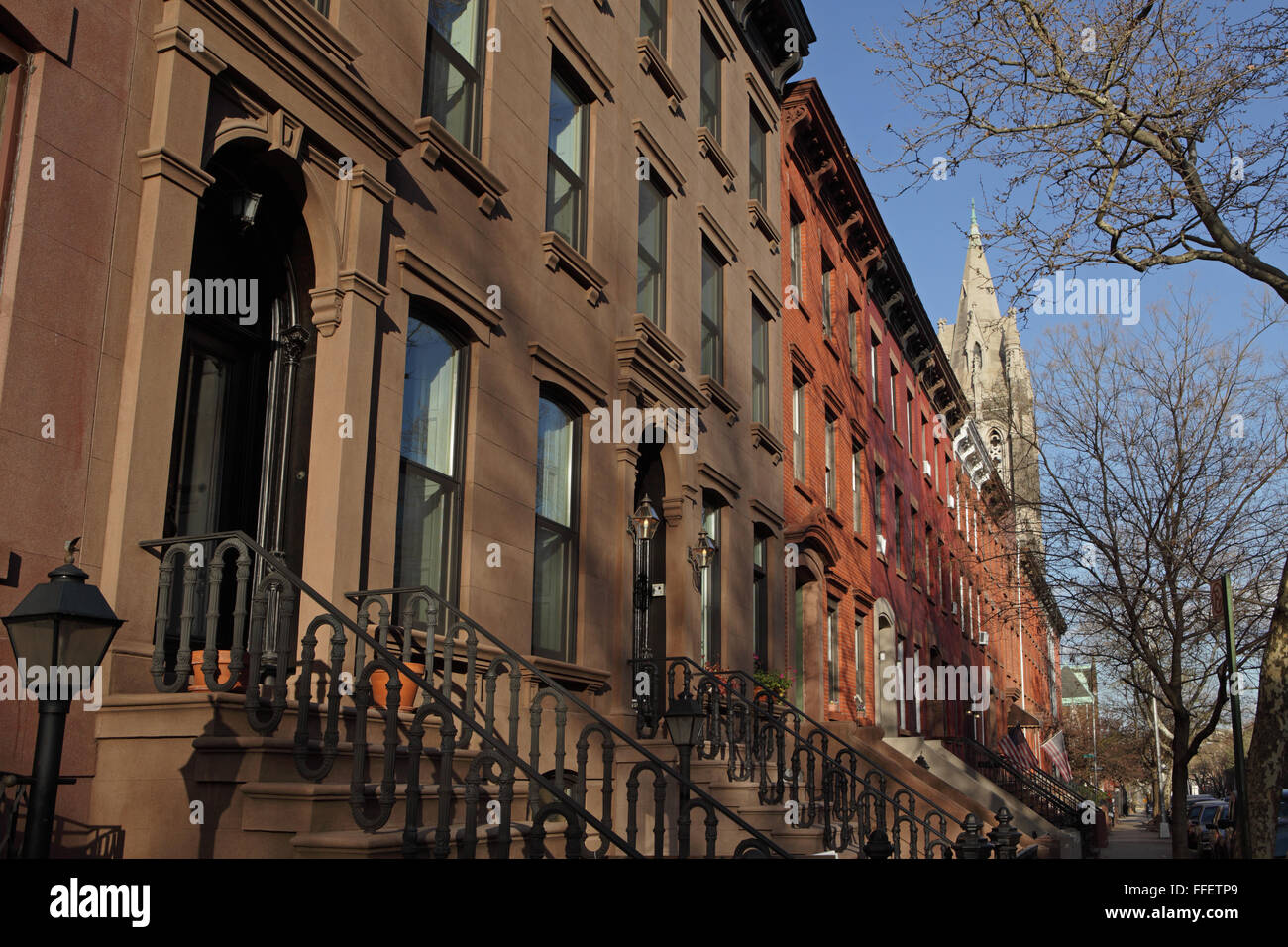 Architectural detail of brownstone townhouses on Sackett Street in Carroll Gardens, Brooklyn - Stock Image