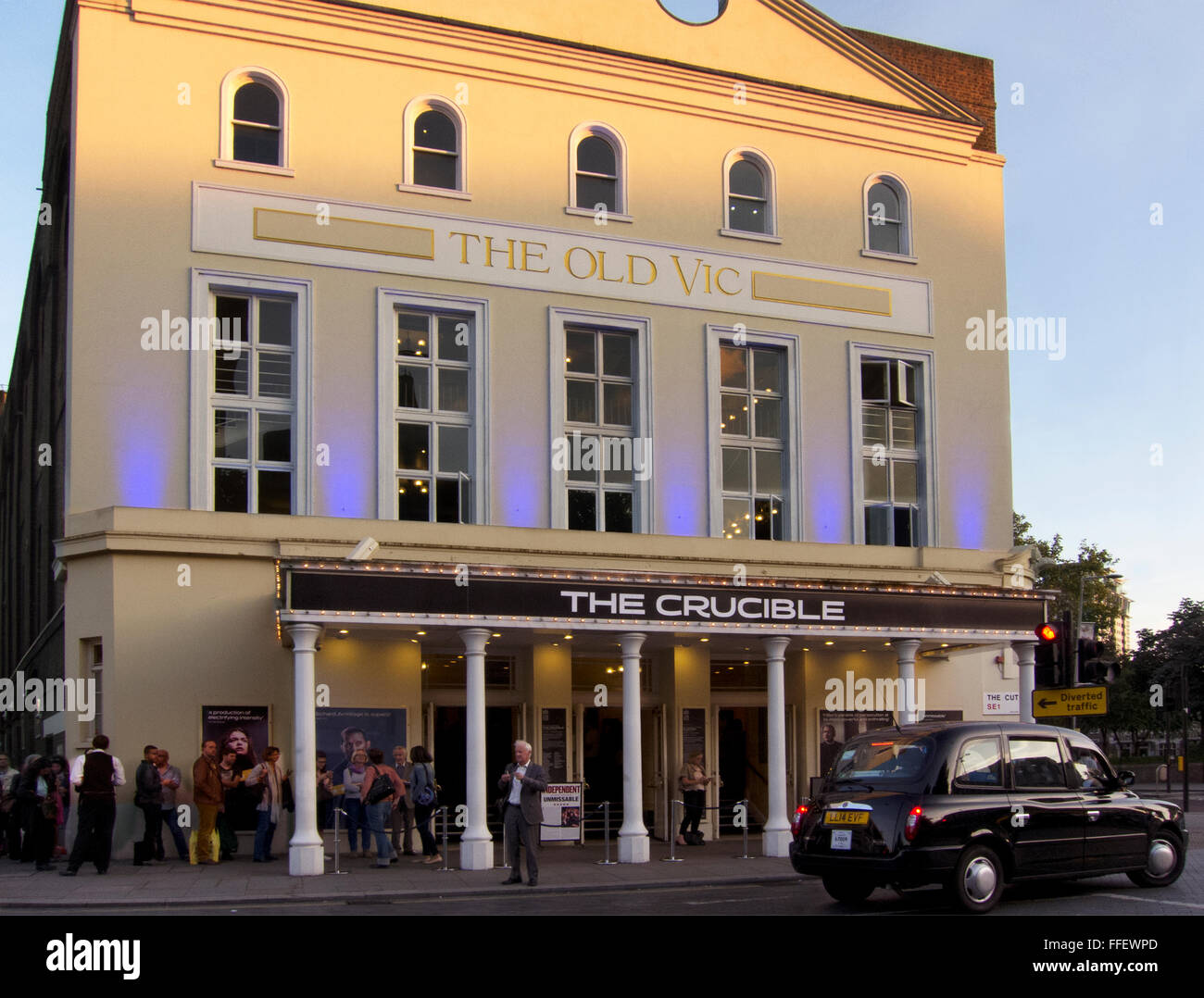 The Old Vic Theatre in London during performances of The Crucible, starring Richard Armitage in 2014. - Stock Image