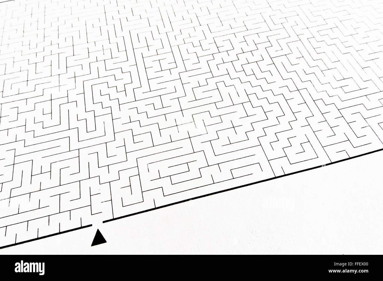 Labyrinth as problem solving (textured with rough paper) - Stock Image
