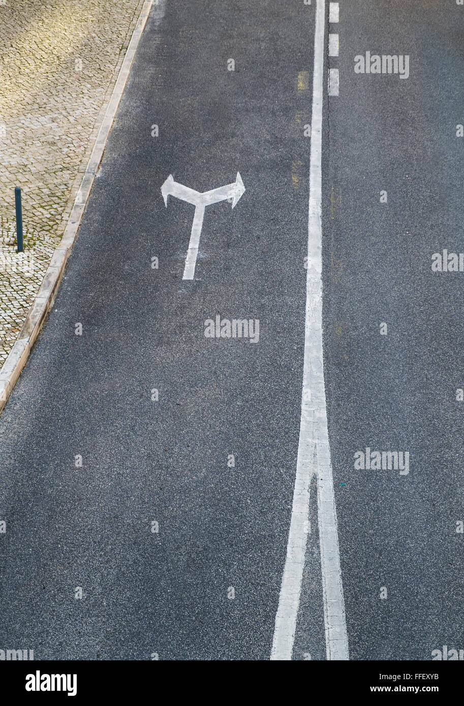 arrows, road surface markings - Stock Image