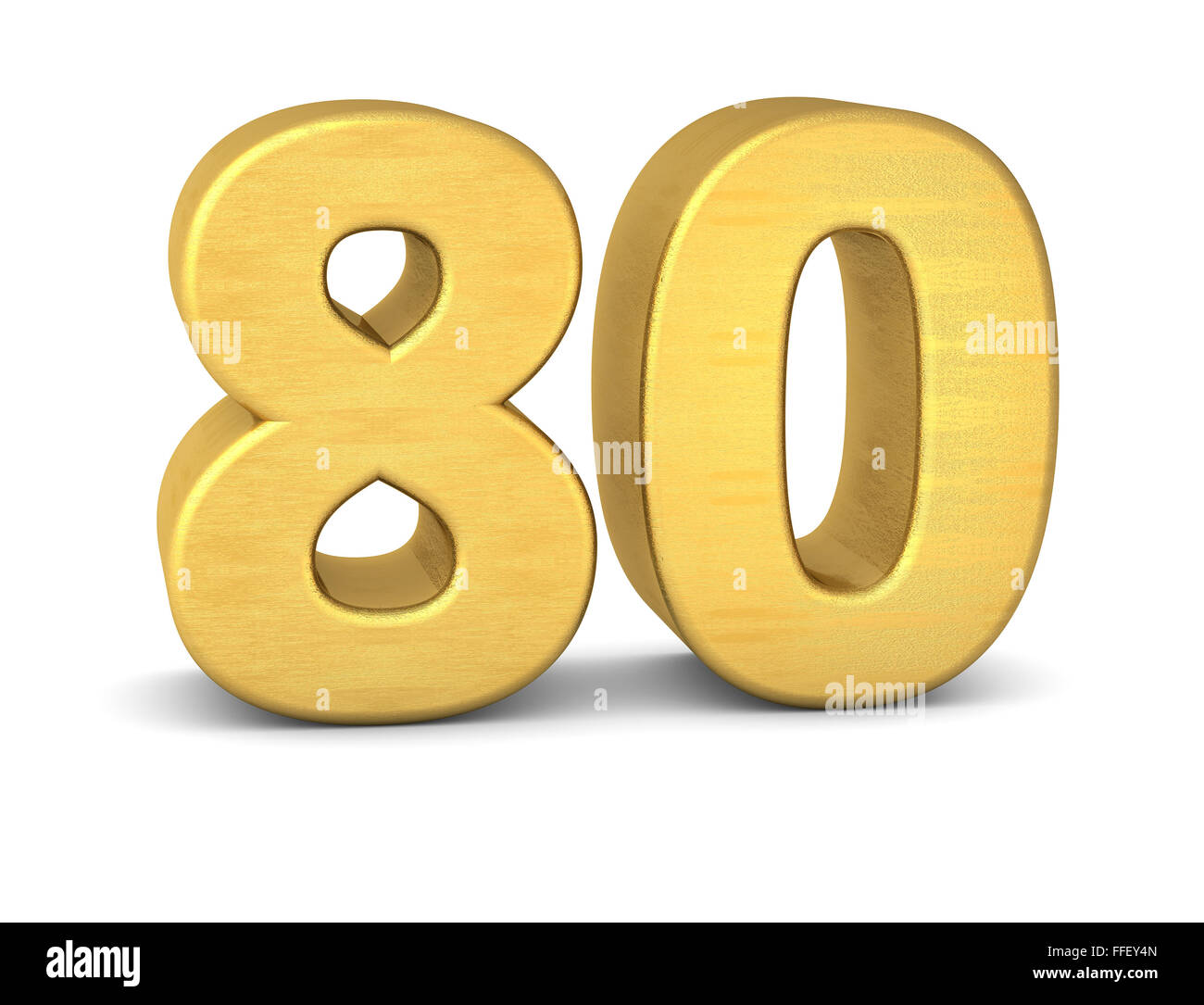 3d number 80 gold - Stock Image