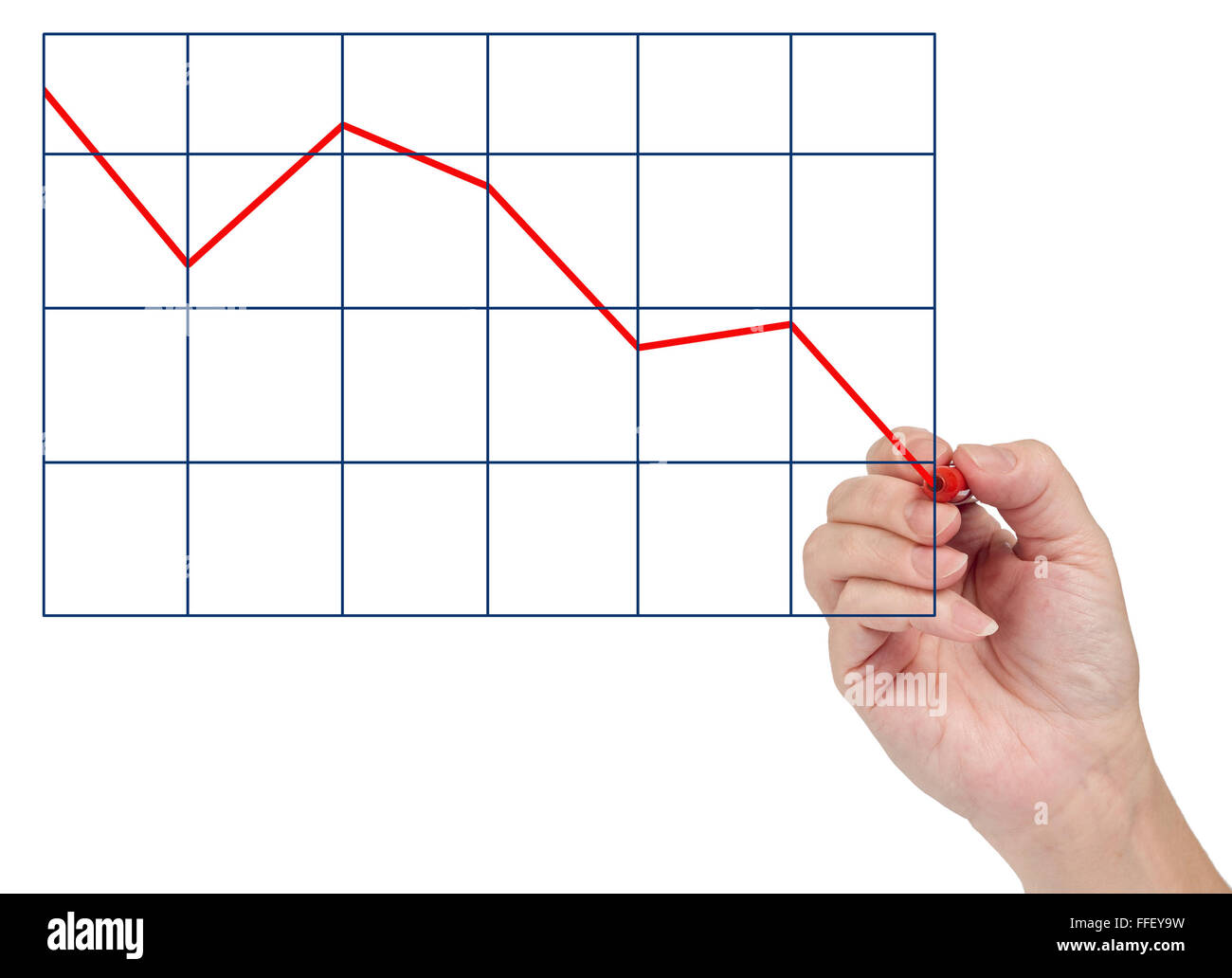 Hand Drawing Market Decline - Stock Image