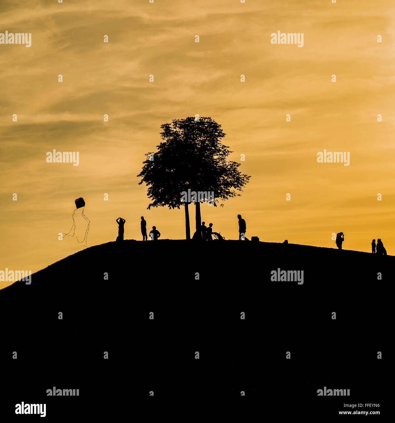 silhouettes of people on a hill, tree and a person flying a kite at dusk - Stock Image