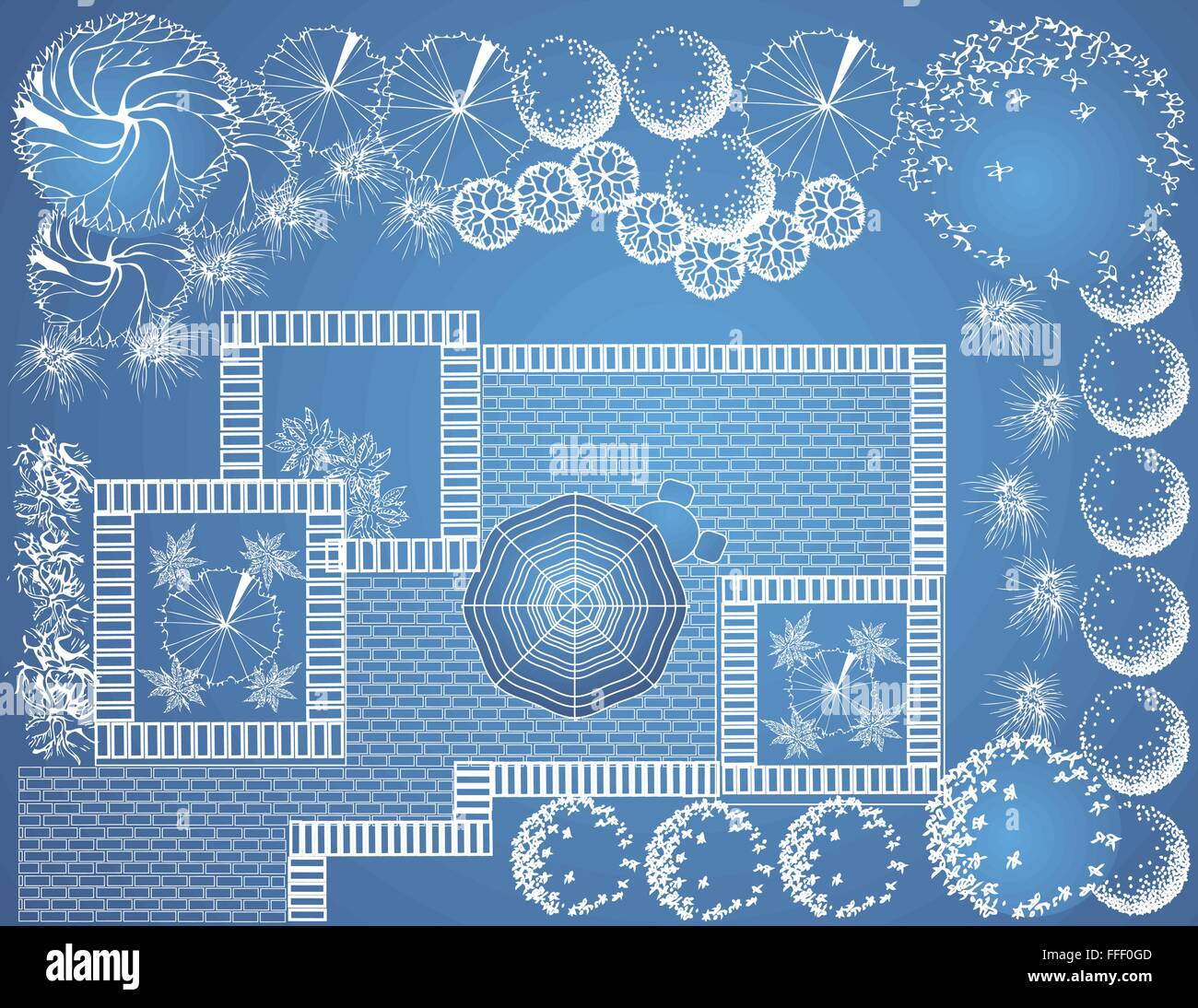 Vector blueprint of landscape architectural project garden plan vector blueprint of landscape architectural project garden plan with tree symbols malvernweather Choice Image