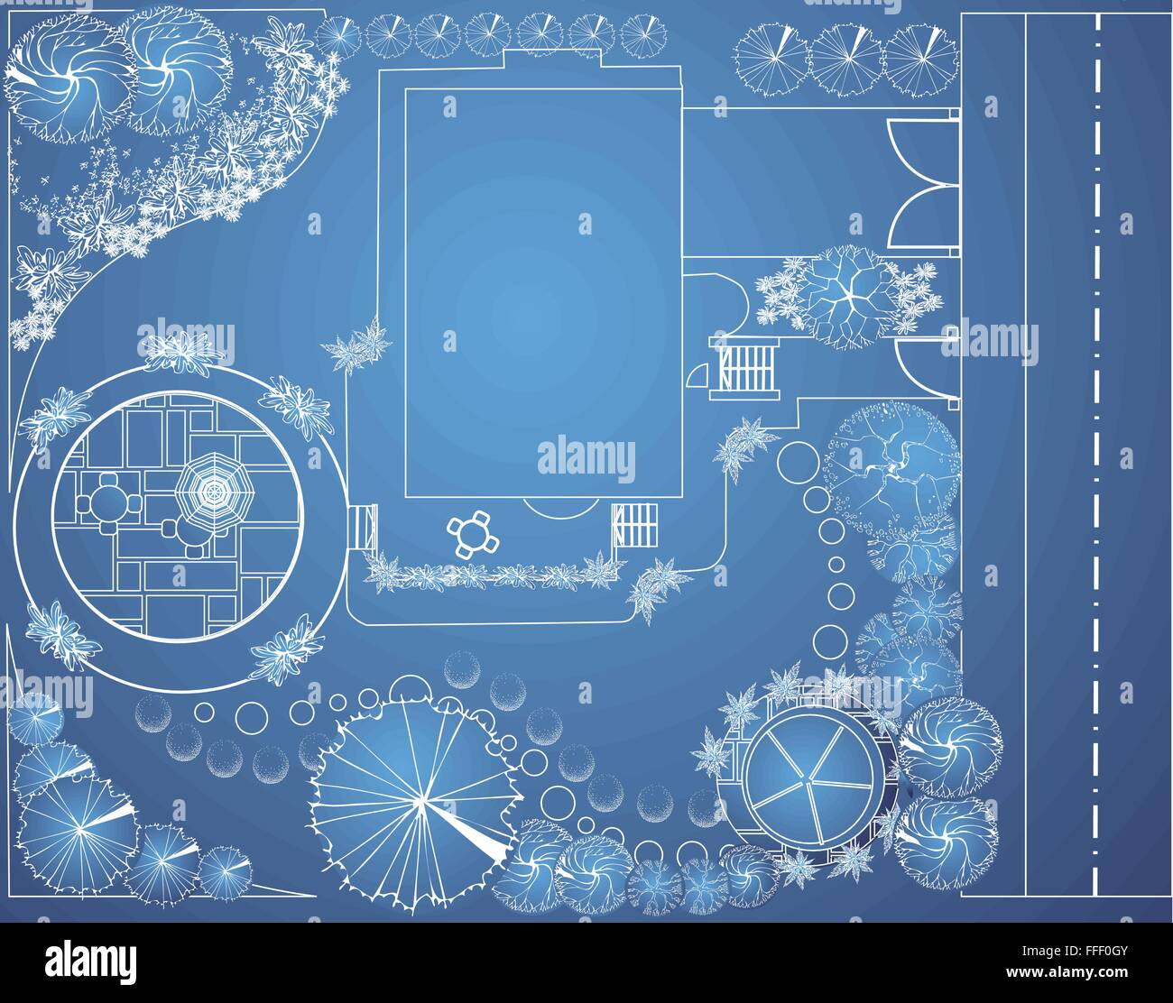 Vector blueprint of landscape architectural project garden plan vector blueprint of landscape architectural project garden plan with tree symbols malvernweather Image collections