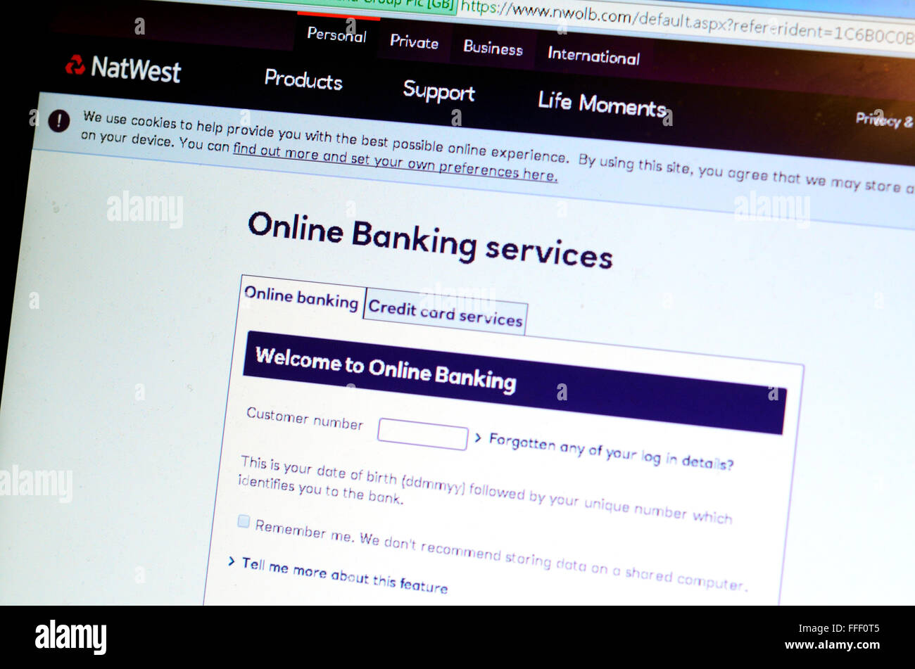 A photograph of the login page on the NatWest online banking web ...