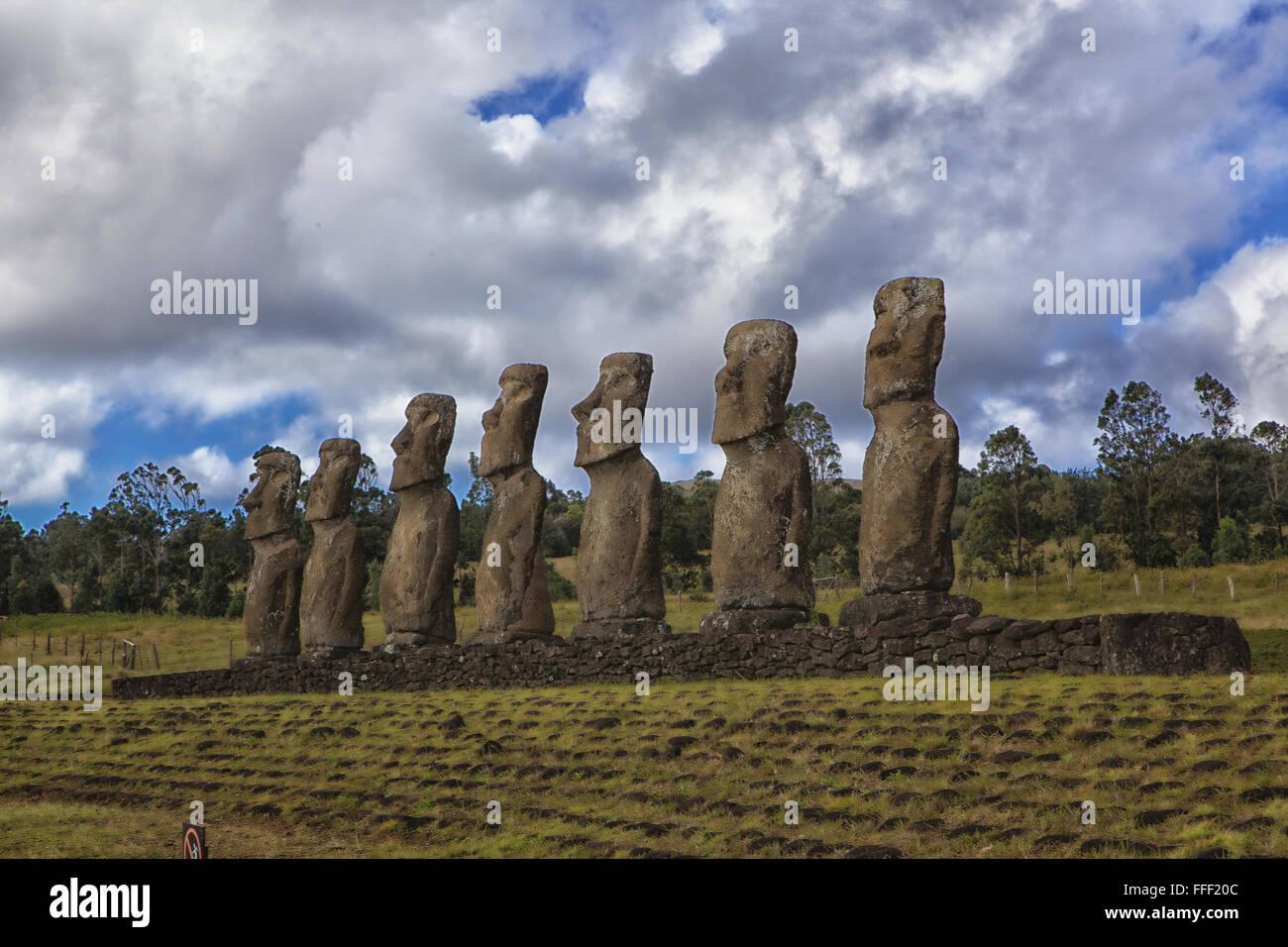 Moais in Eastern Island, Rapa Nui - Stock Image