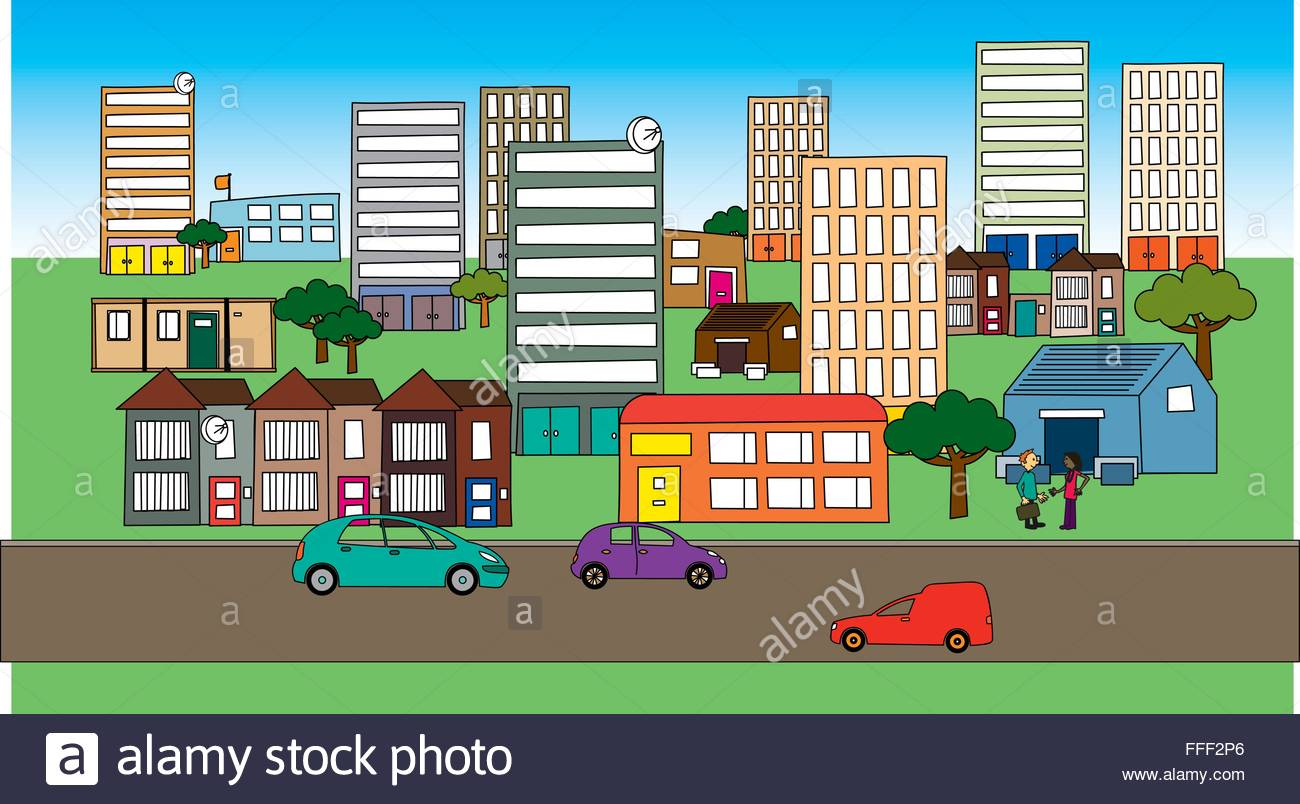 Cartoon cityscape community with mixed housing, traffic and people. - Stock Vector