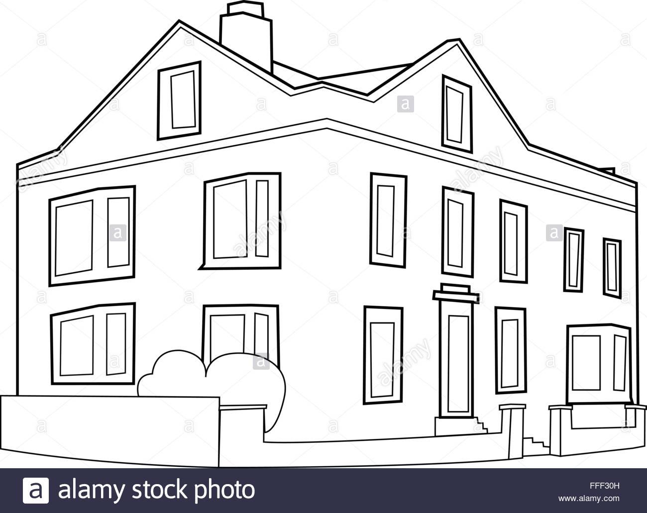 European style corner building outline – vector - Stock Vector