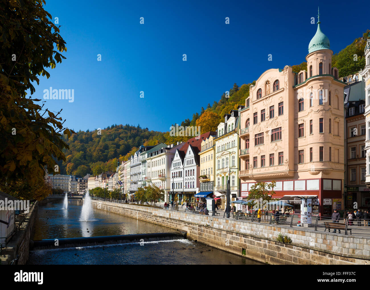 CARLSBAD, CZECH REPUBLIC - OCTOBER 10, 2015 - The historic city of Carlsbad is one of the most famous spa towns Stock Photo