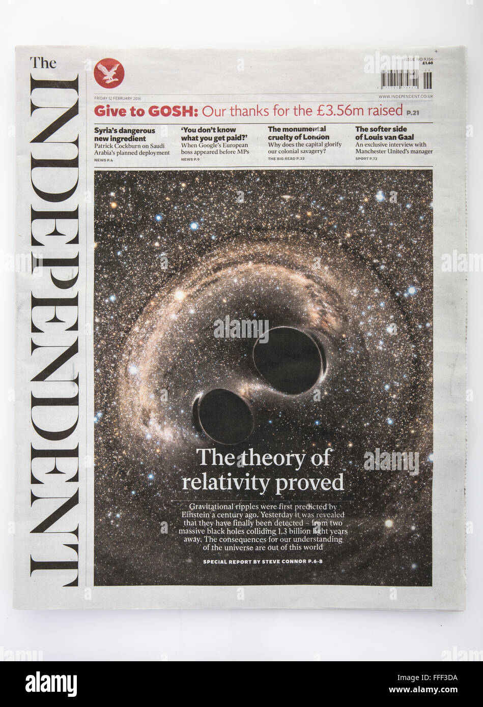 The Independent Newspaper 12th Feb 2016 the day it was announced that printed copies of this newspaper would end. - Stock Image