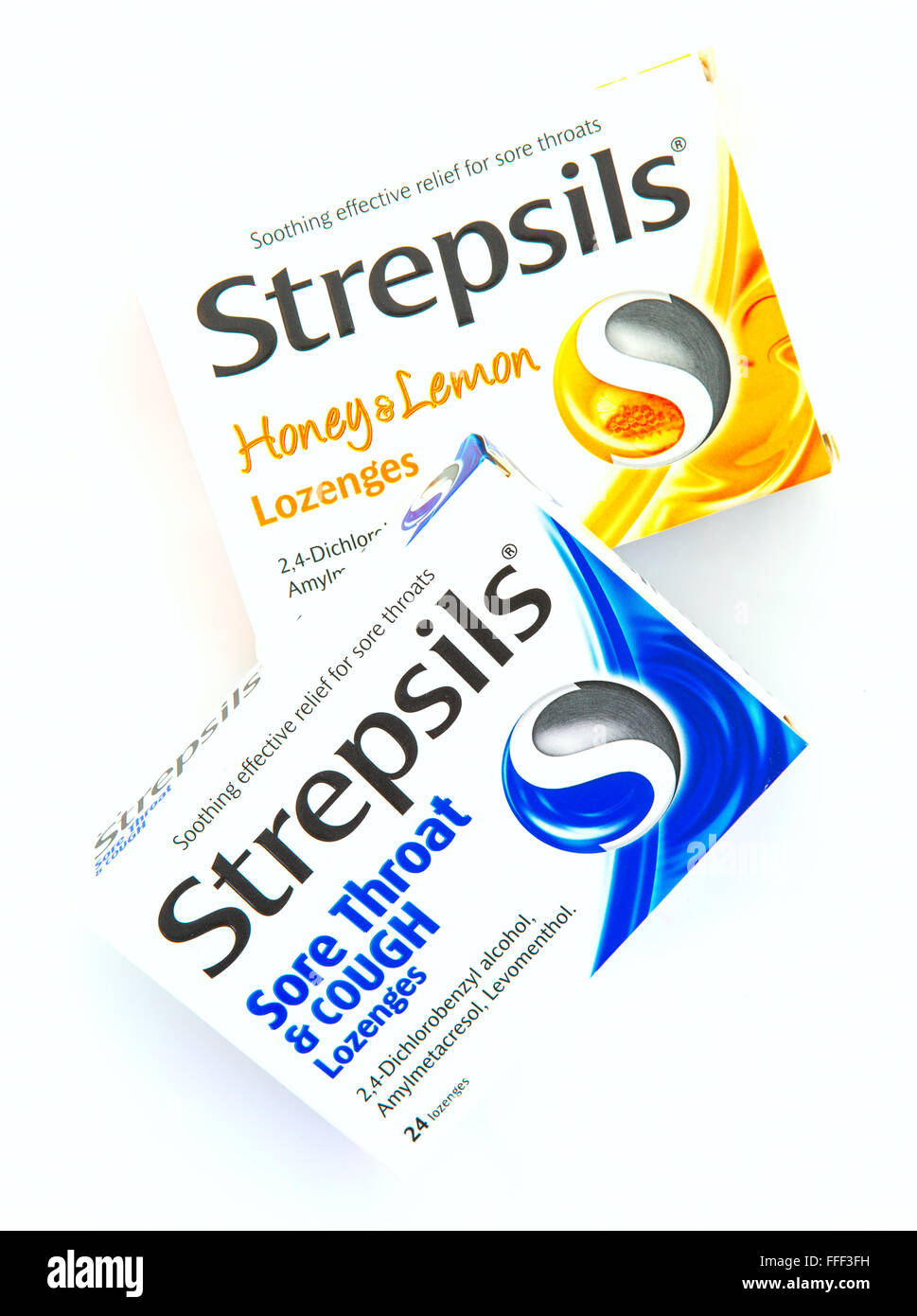Two Boxes of Strepsils Sore Throat Lozenges - Stock Image