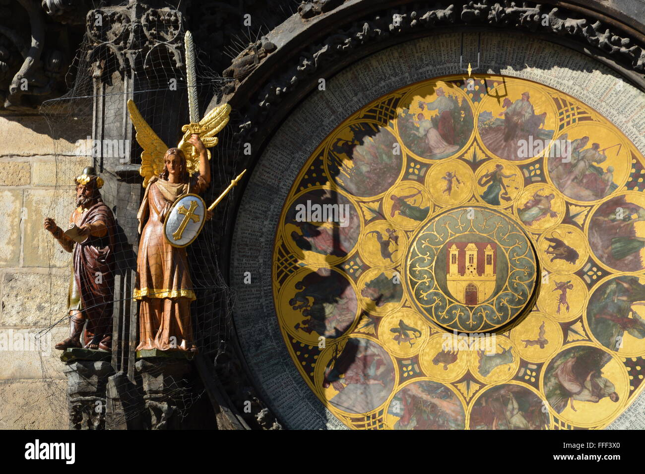 Close up of the Astrological Clock on the Old Town Hall in Prague's Old Town Square, Czech Republic. - Stock Image