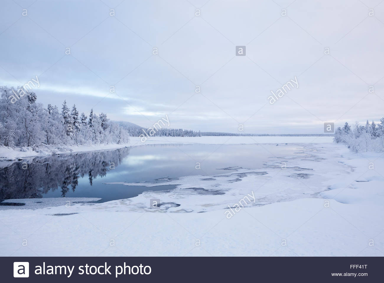 Beautiful view by a lake in Finnish Lapland - Stock Image