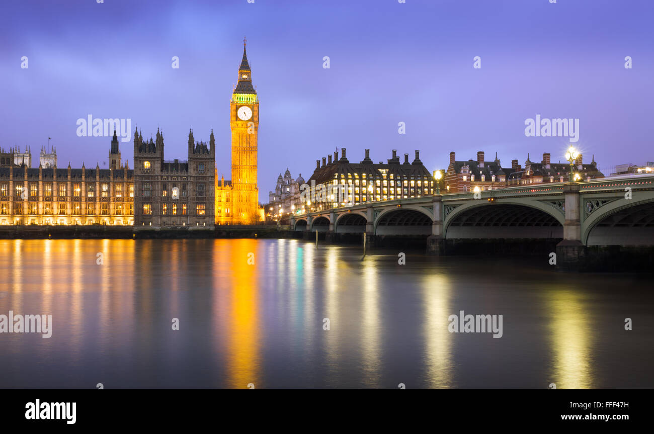 Westminster at dusk at a cloudy day, London, UK - Stock Image