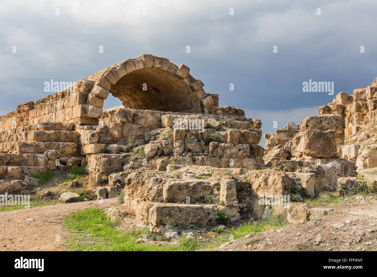 Ruins of ancient Greek city of Salamis, Northern Cyprus - Stock Image