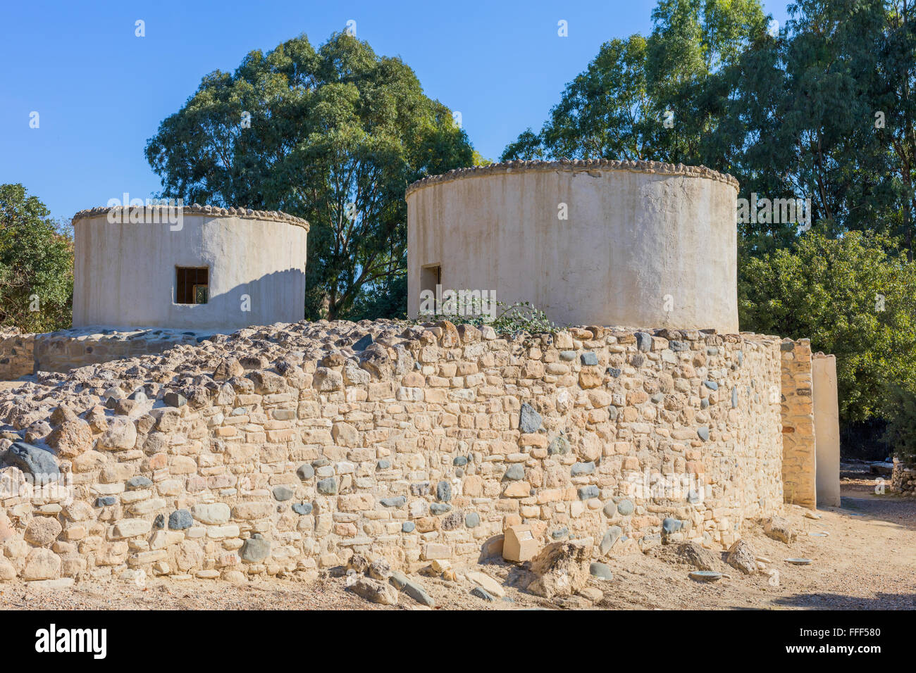 Reconstructed structures, Khirokitia archaeological site, Cyprus Stock Photo