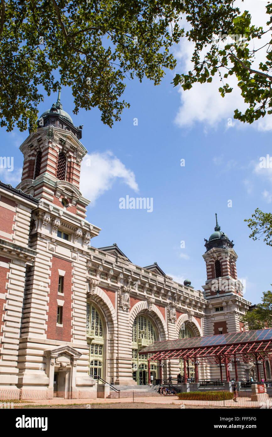 NEW YORK CITY - AUGUST 19, 2015: Exterior View of historic Ellis Island Immigrant Museum - Stock Image