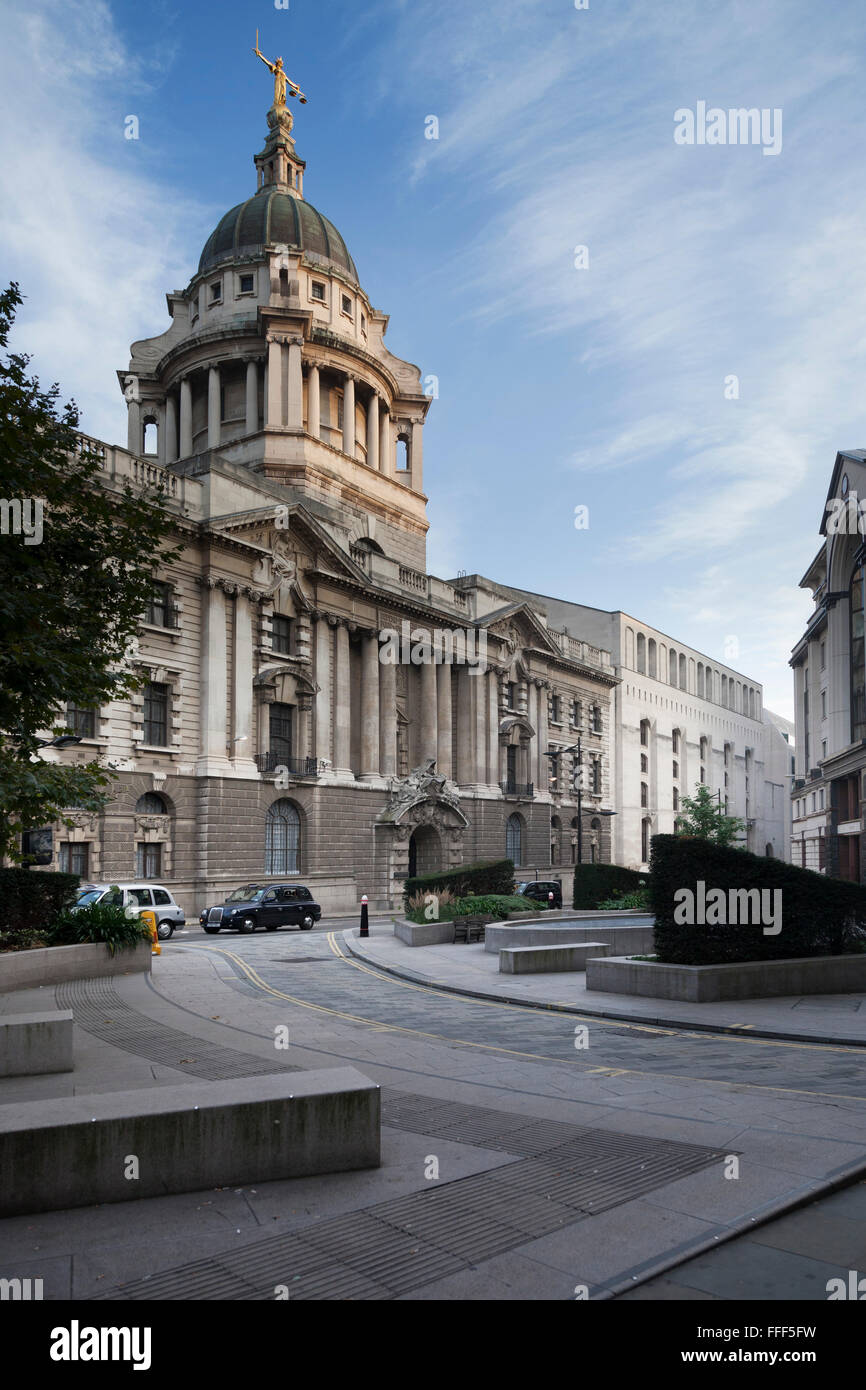 The old building of the Central Criminal Court of England and Wales, known as the Old Bailey,in London. Current - Stock Image