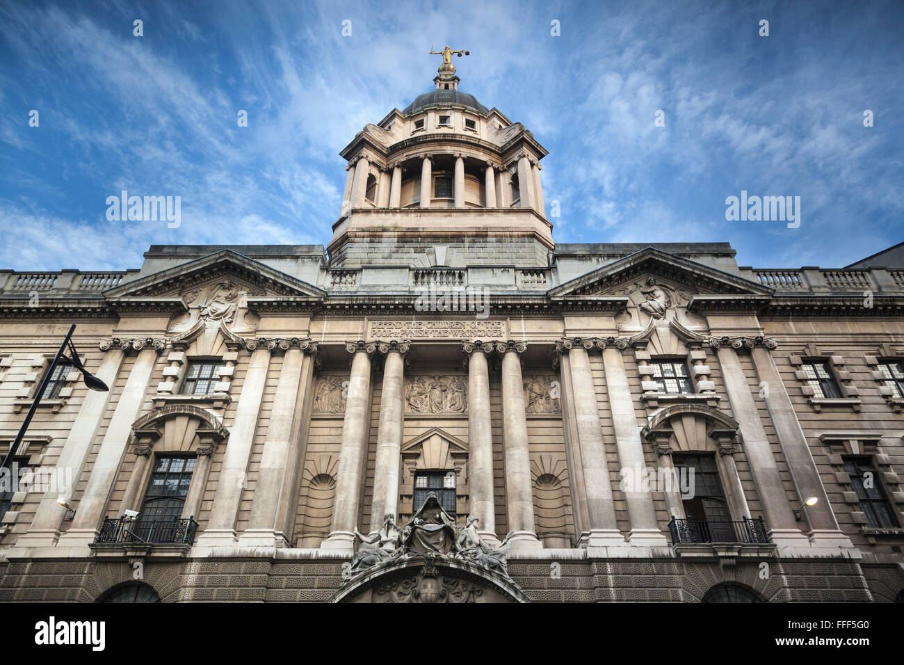 Facade of the 1900 building for the Central Criminal Court, known as the Old Bailey, in central London. Justice - Stock Image