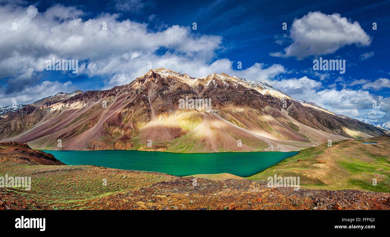 Chandra Tal lake in Himalayas Stock Photo