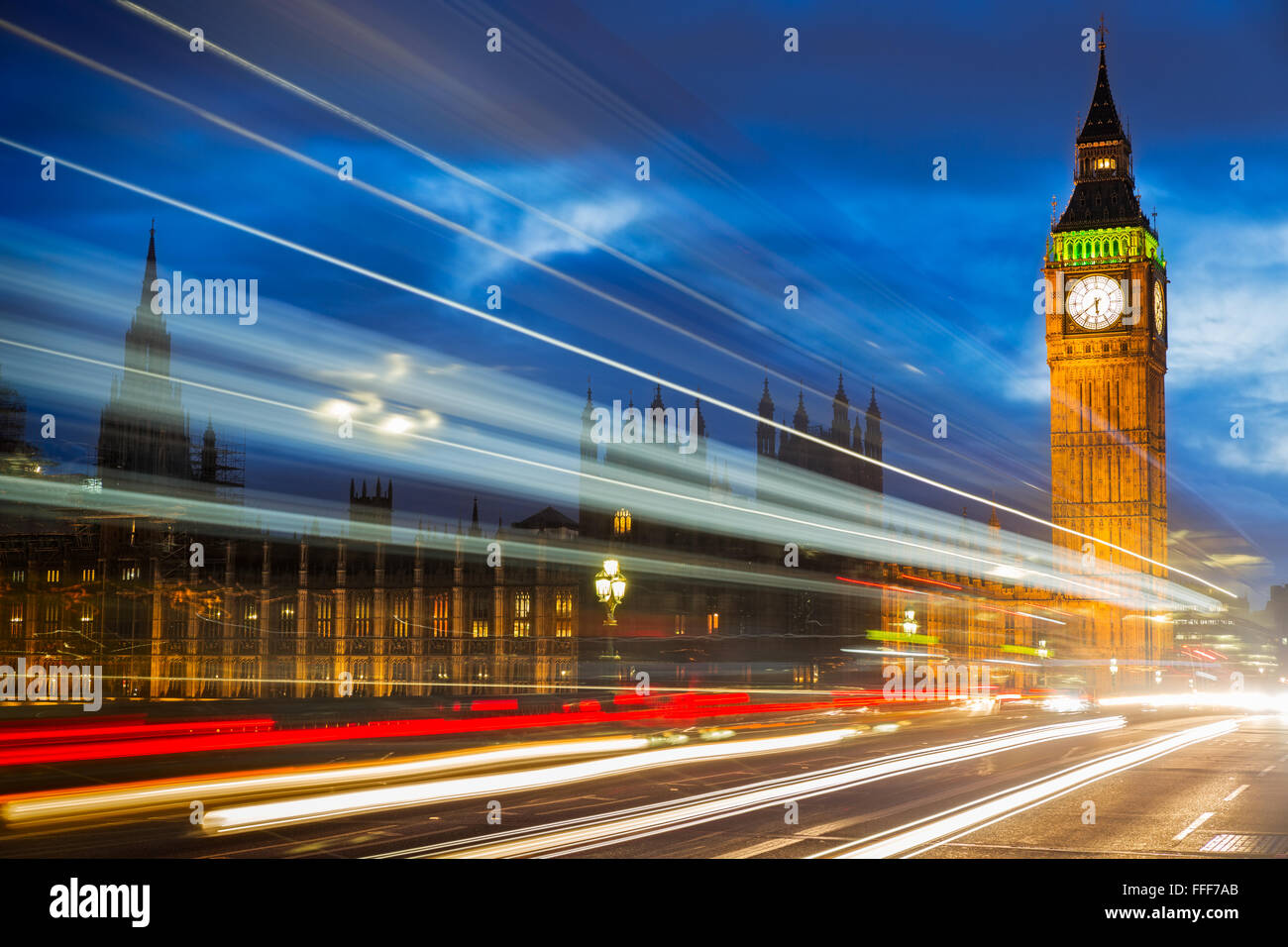 Big Ben at Westminster Bridge, London, UK - Stock Image