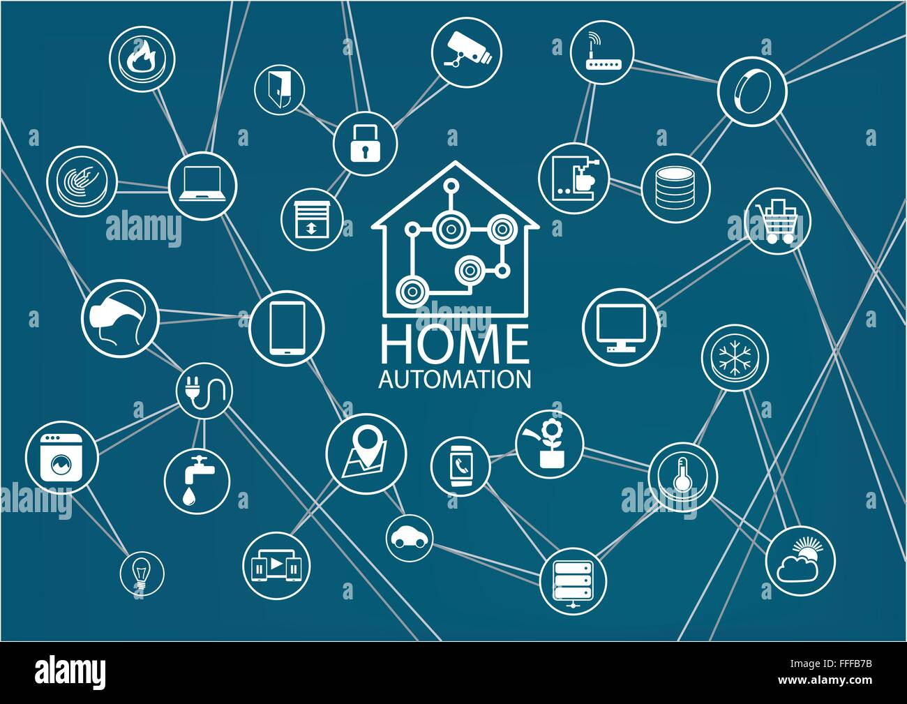 Smart Home Automation Vector Background Stock Vector Art