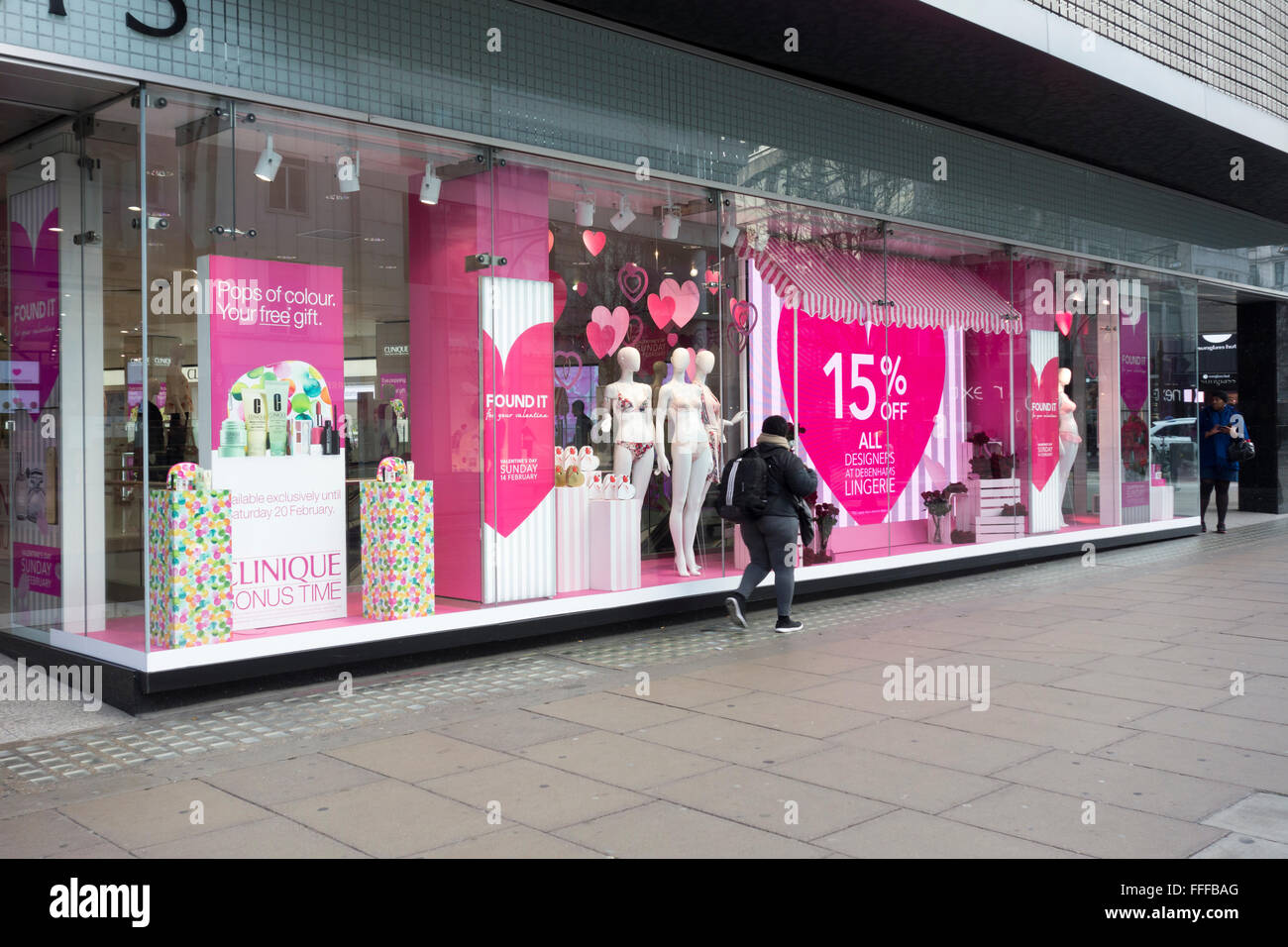 London, UK. 11th February 2016: Debenhams department store install and launch valentine's day window display - Stock Image