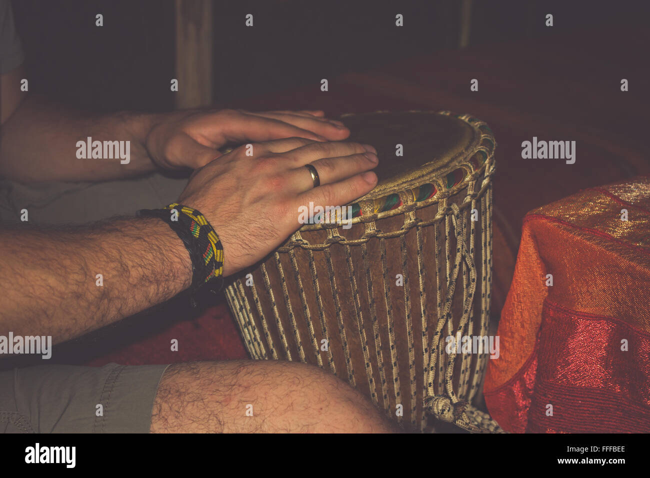 The African traditional drum separately on a white background - Stock Image