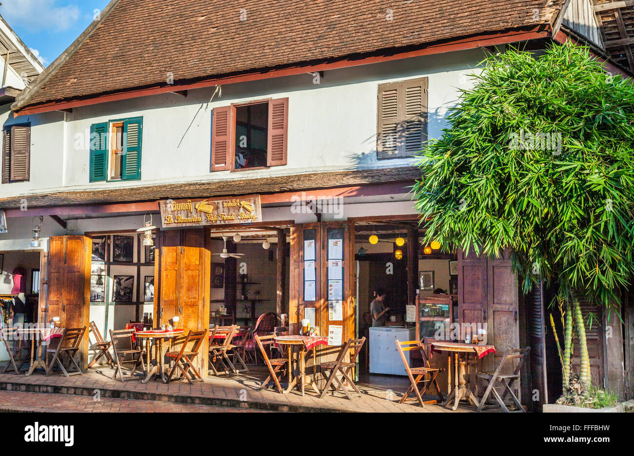 Lao People's Democratic Republic, Luang Prabang, Le Banneton Cafe French Bakery - Stock Image