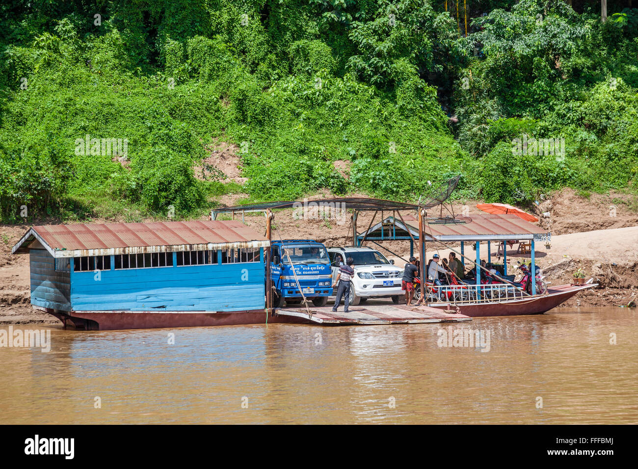 Lao People's Democratic Republic, Luang Prabang Province, river ferries on the banks of Mekong River at Ban - Stock Image