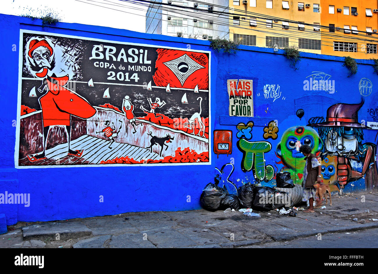 Critical billboard after the football World Cup 2014, Rio de Janeiro, Brazil - Stock Image