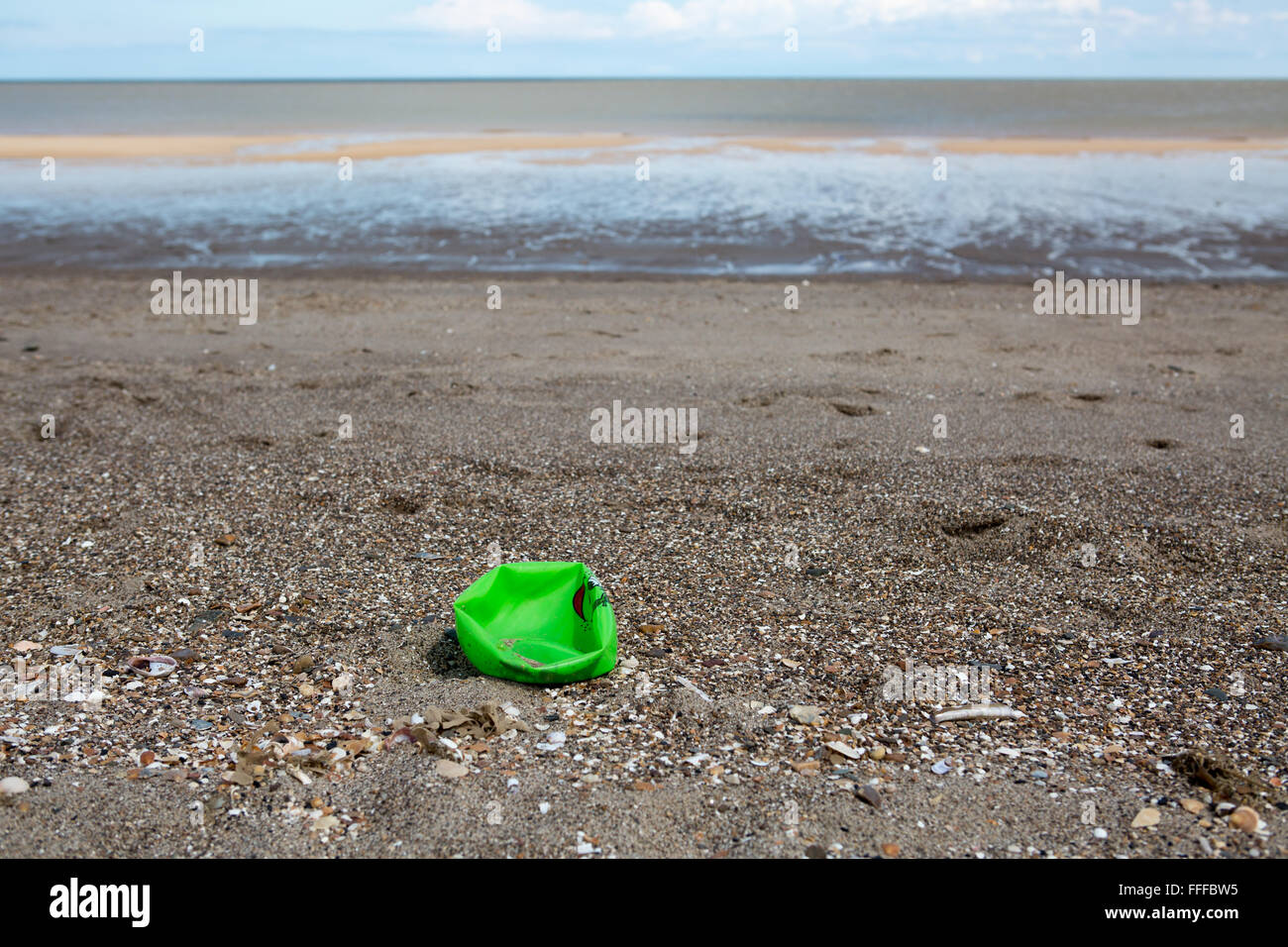 Washed up plastic waste on Mablethorpe Beach in Lincolnshire, England, UK - Stock Image