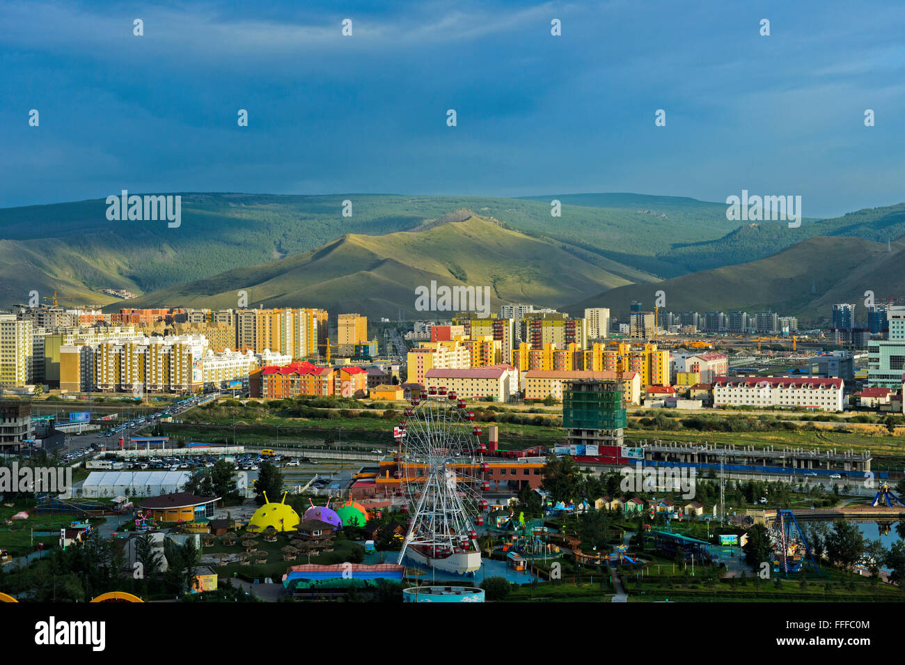 National Amusement Park, behind modern newly built district, Ulan Bator, Mongolia - Stock Image