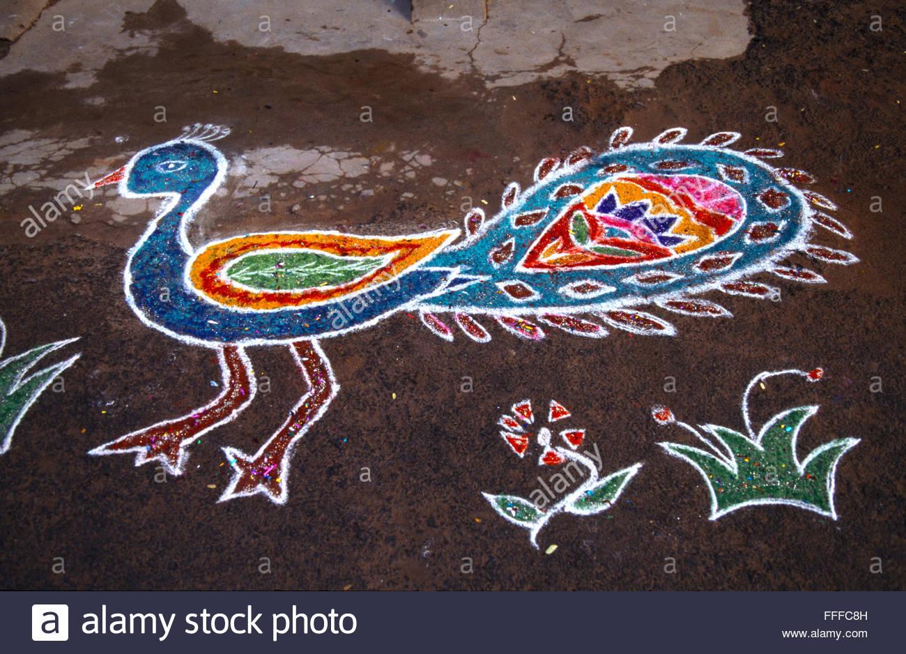 best pongal kolam competition tiruvannamalai tamil nadu india - Stock Image