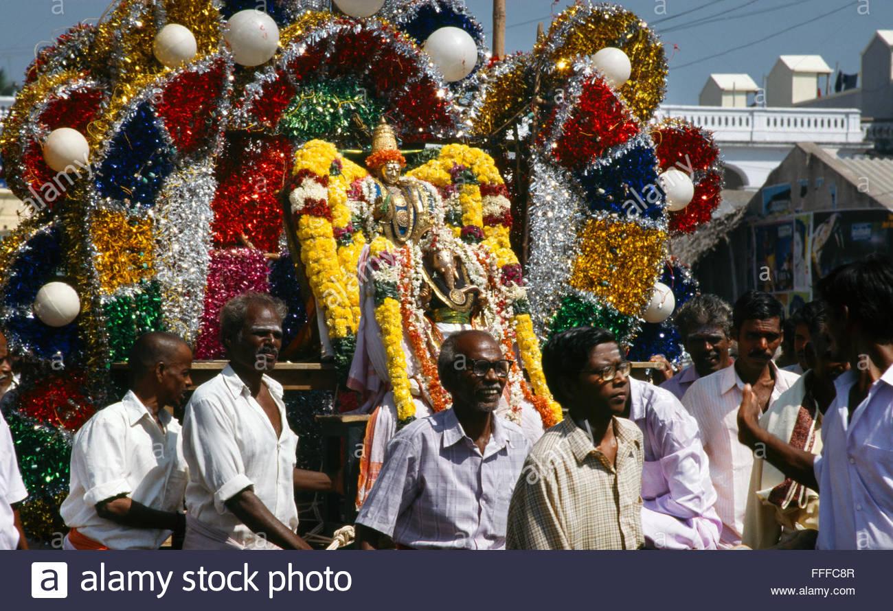ganesh procession tiruvannamalai tamil nadu india - Stock Image