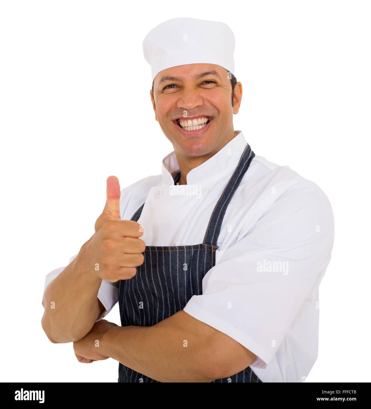 happy mid age butcher thumb up - Stock Image