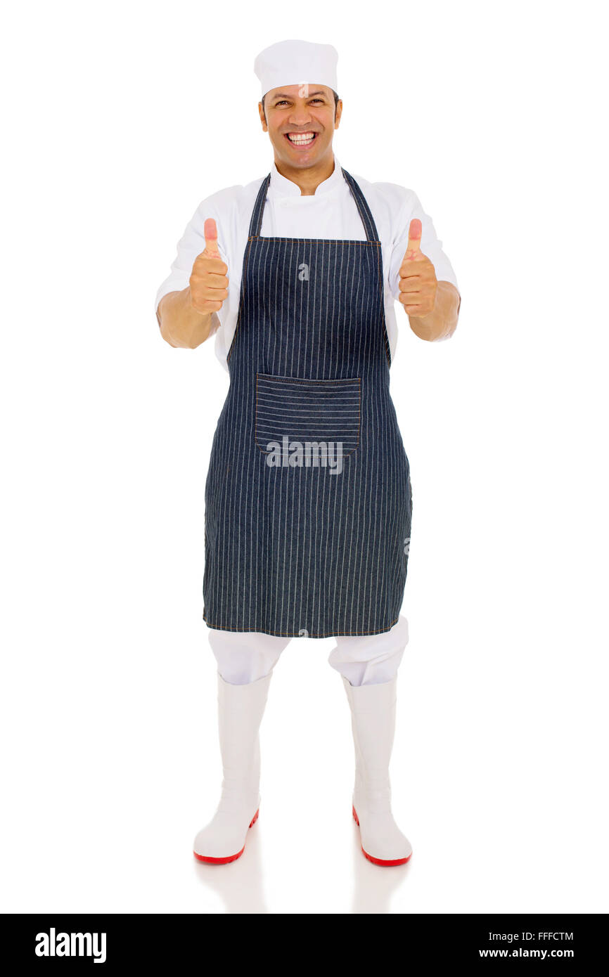 good looking middle aged chef giving thumbs up - Stock Image