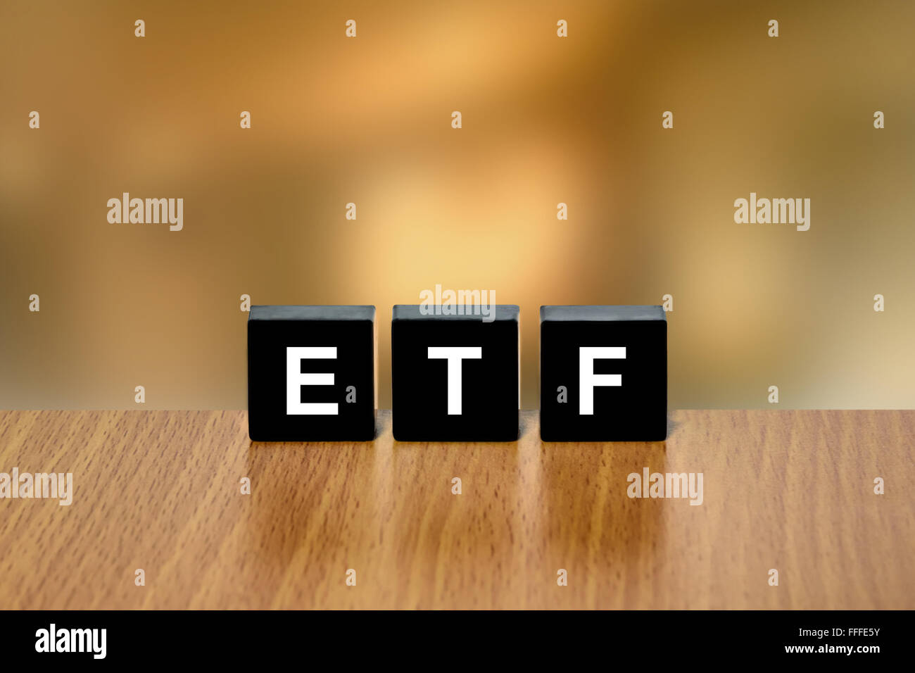ETF or exchange traded fund on black block with blurred background Stock Photo