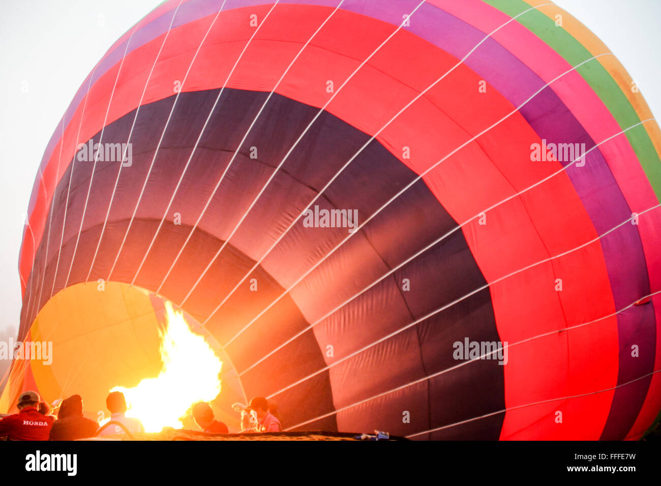 Inflating Hot Air Balloon Stock Photo