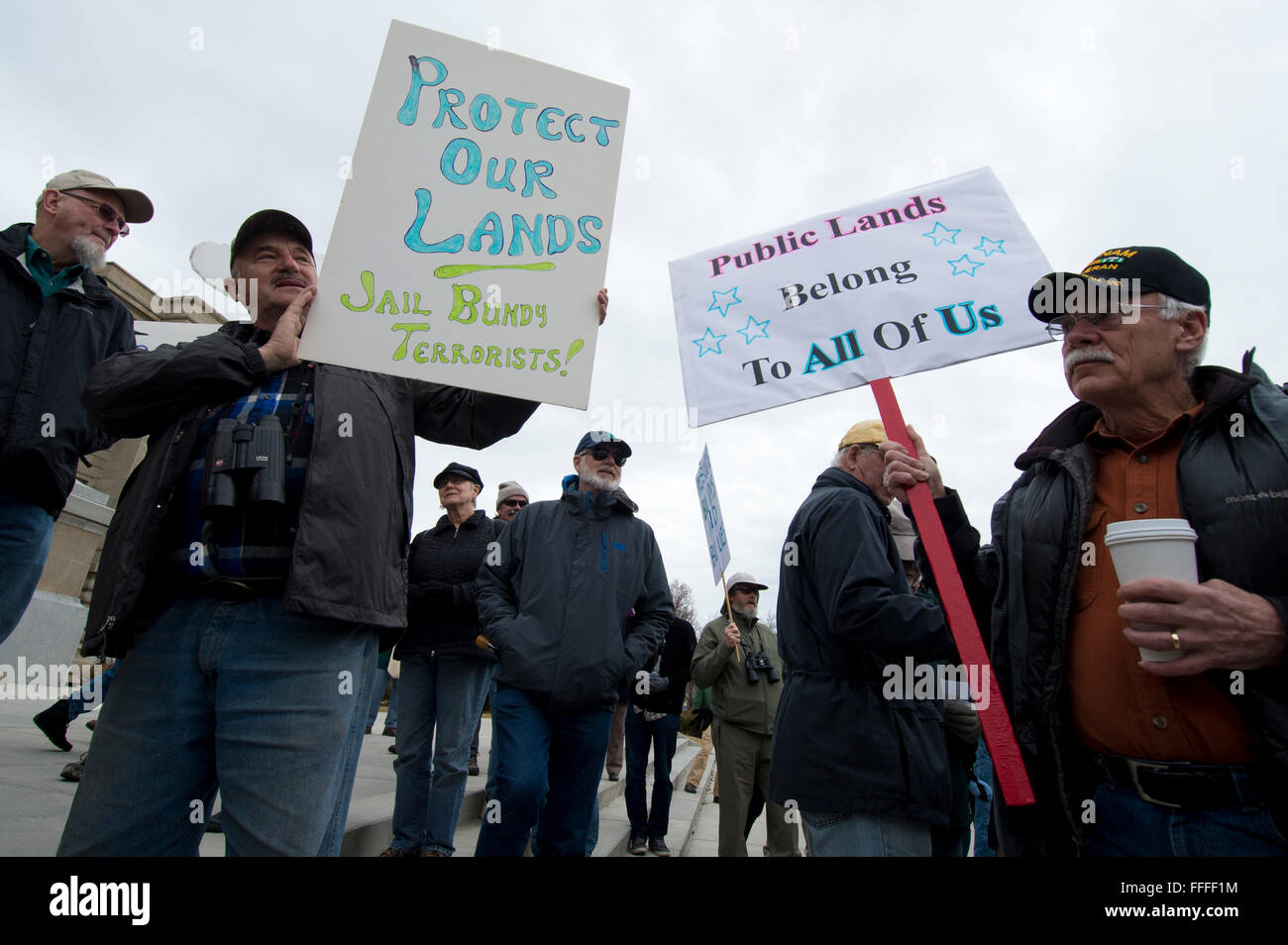 Pro-public lands rally in Boise ID, January 2016 - Stock Image