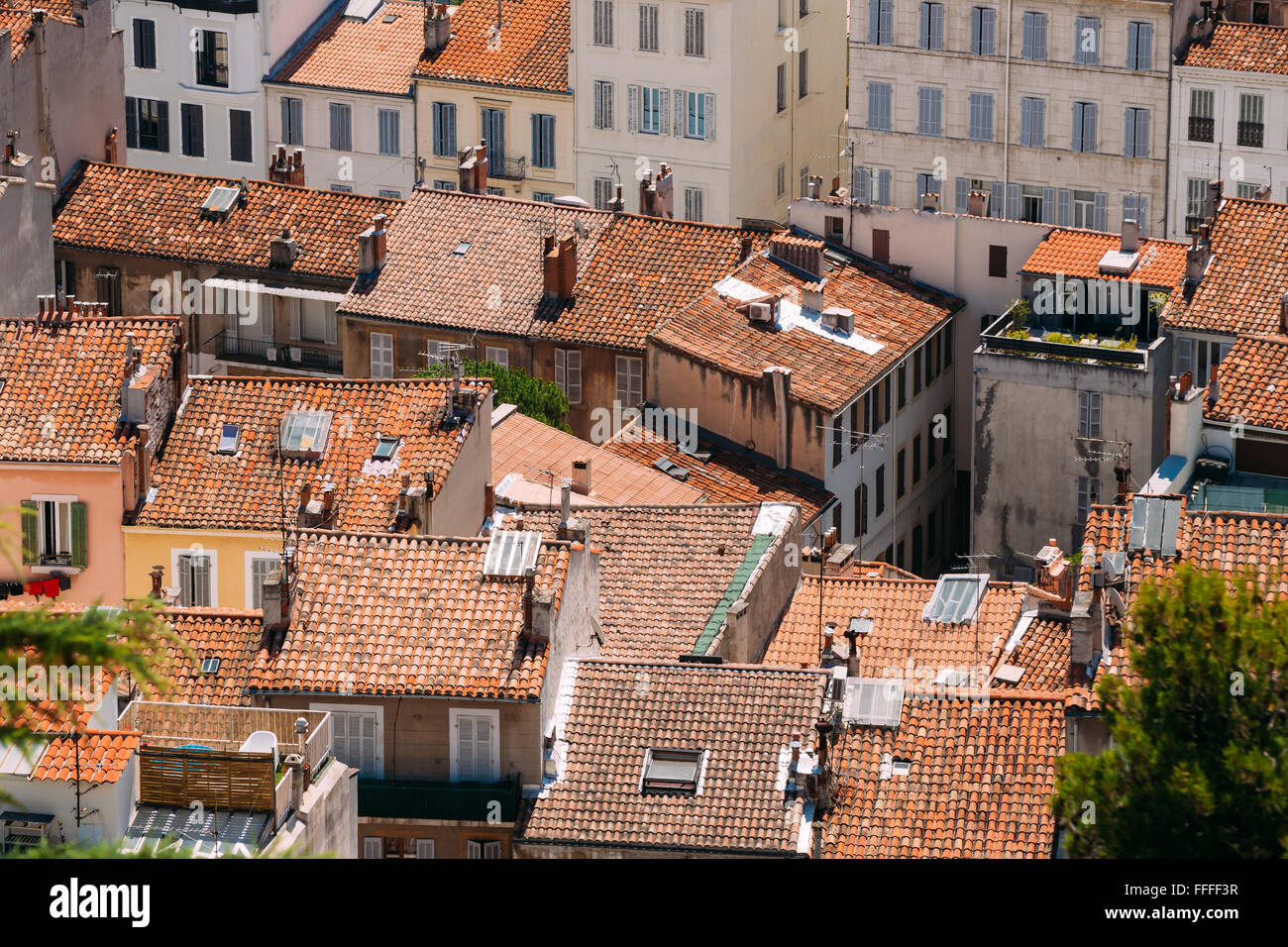 View of the old tiled roofs in Marseille, France. - Stock Image