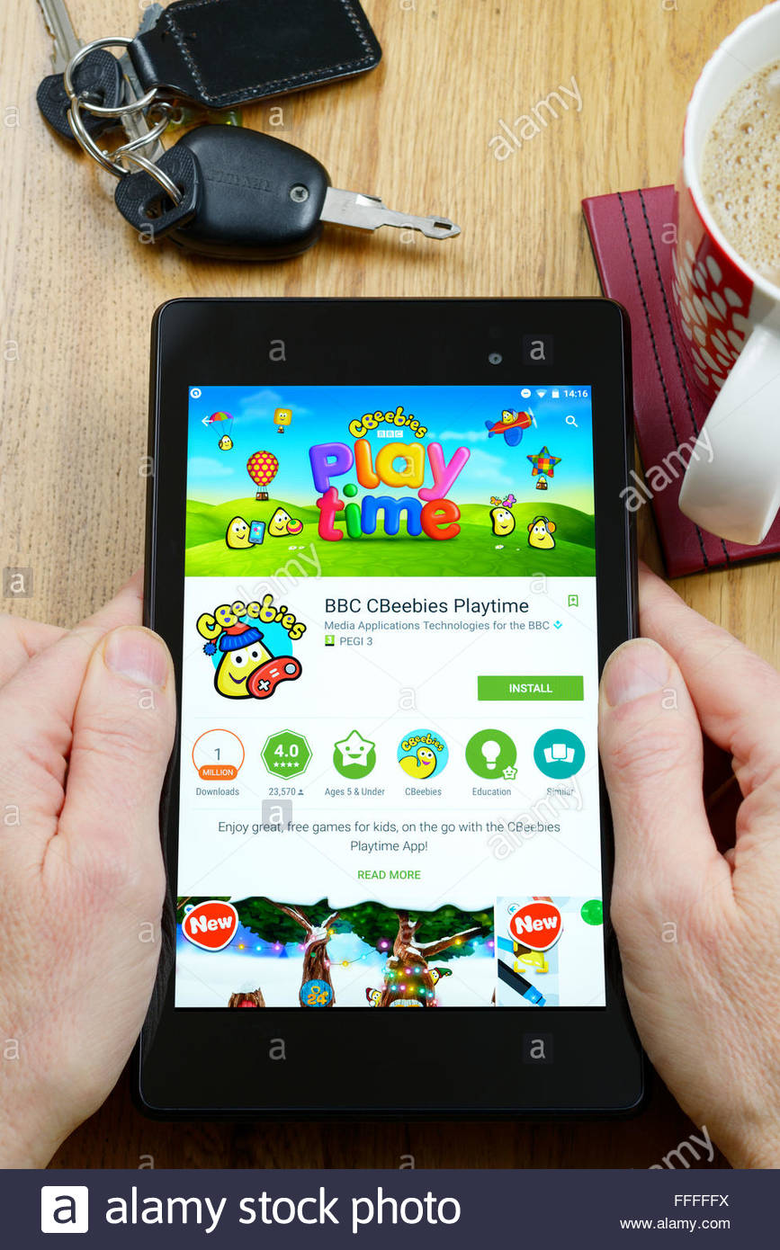 BBC children's app Cbeebies on an android tablet PC, Dorset, England, UK - Stock Image